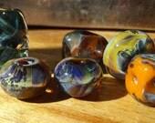 Beautiful Orphan Gypsy Boro Glass Beads Orange Purple