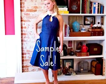 Ready to Ship - Navy Blue Keyhole Sailor Dress - FREE Petticoat - XSmall/Small