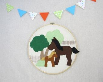 Wall Décor -  Ponies - Children, Fiber, Illustration, Nursery, Gift
