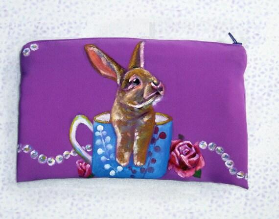 half price!! Cleanse SALE ooak, Double-side painting Original Art,personalized Clutch Bag, Unique,bunny, rabbit, tea cup