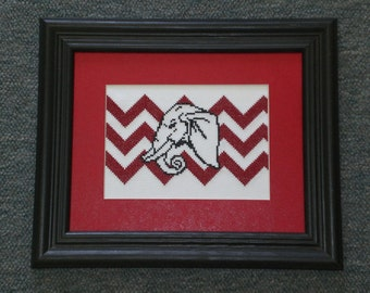 Elephant Head Chevron - counted cross stitch chart - downloadable file