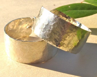 Handmade, Hammered Sterling Silver Wide Hoop, Dime Size