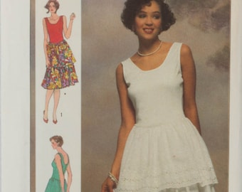 Vintage Simplicity 7377 Sewing Pattern, Sleeveless Knee Length Dress Uncut, Bust 32.5, 34, 36  inches