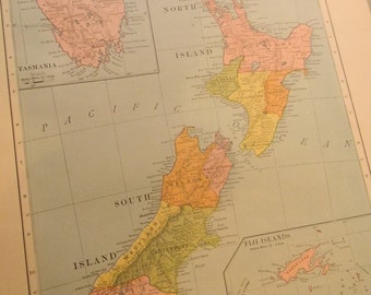 1908 Map New Zealand - Vintage Antique Map Great for Framing 100 Years Old