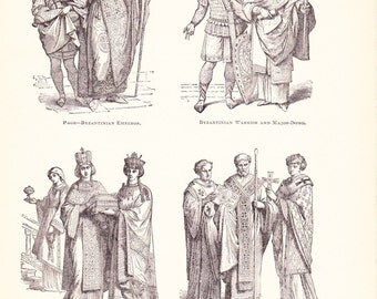 1898 World History Print - Fashion of the Byzantine Empire - Vintage Antique Art Print American History Great for Framing 100 Years Old