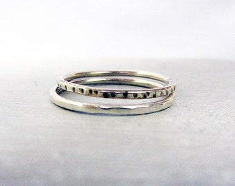 Sterling Silver Stacking Rings, set of 2 skinny rings,  size 8.5