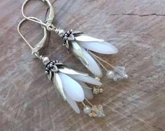 Beaded White Snowdrop Drop Earrings Handmade, Czech Glass beads, Swarovski Crystal Beads, MADE TO ORDER
