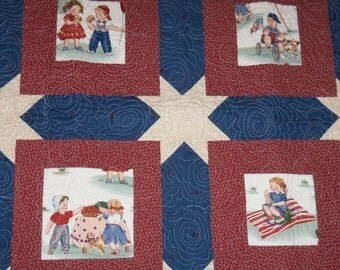 Quilted Wall Hanging, Americana Patriotic, 32x32 inches, Square Table Topper, Vintage Retro Look, Sale Priced, Machine Quilted