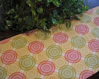 Christmas Table Runner Padded Modern Circles Print on Cream