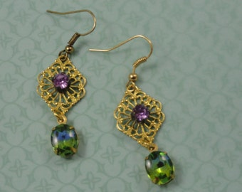 Purple and Green Filigree Earrings