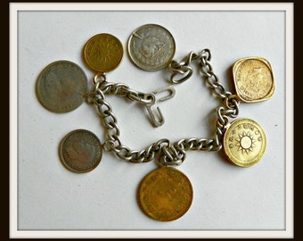 Vintage Estate Jewelry World Travel Coins Sterling Charm Bracelet  1940's Dinar Chinese Coins Rare 1922 Six Pence