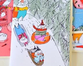 Sledding Party - Christmas Cat Card - Funny Holiday Card