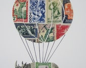 HOT AIR BALLOON Print,  Original  Collage, Art Print - Made from Vintage Postage Stamps - Baby Room