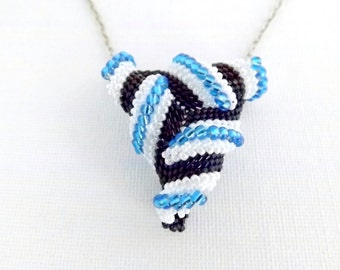 Beadwork Twisted Peyote Triangle Necklace Pendant Beadwoven Statement Seed Bead