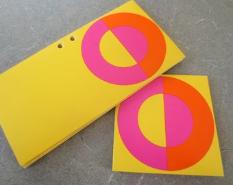 Vintage Tags, Mod Gift Tags, Circles, Paper Gift Tags, Yellow Pink Orange, Circle, Groovy Gift Tags, Gift Wrapping Supply, 1960s Tags