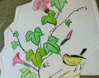Vintage Bridge Tally, Score Card, Yellow Birds, Fan Shaped, Birds and Flowers, Japanese, Unused Bridge Tally, Paper Ephemera, Craft Supply