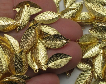 Gold leaf charms, 25+ lightweight leaves, plated brass pendants, 15mm long with 1mm holes for wedding & everyday jewelry S