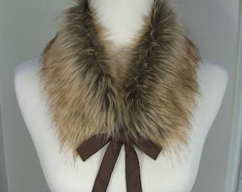 Fox Tip Dyed Fur COLLAR, Faux Fur Scarflette with satin ribbon ties, Women's Fur Neckwarmer, Fur Collar