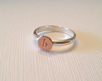 Initial ring in rose gold and sterling silver, stacking ring, Mother's Day Ring