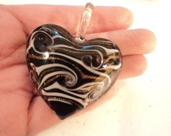 Black Glass Heart - Pendant