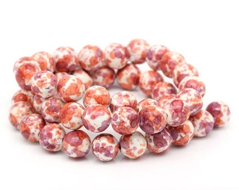 White Painted Beads - 8mm - #BS8MM105