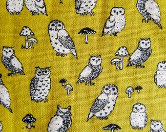 Animal Print Fabric By The Yard - Cotton Linen Blend - Owl Power on Yellow - Half Yard