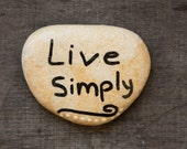 Inspirational stones , Israel holy land  beach pebbles words gift live simply  painted rock