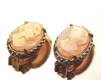 Vintage Cameo Clip Earring Carved Shell Cameo Gold Tone Earrings