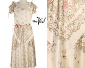 1970s Floral Tea Dress - Delicate Pink & Purple Blossoms on Cream w/ Bias Cut Skirt -