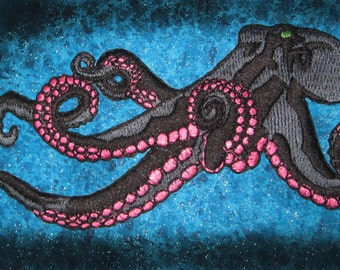 Huge Giant Octopus Octopie Jacket Back Iron on Patch Black and Pink ready to ship