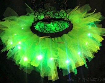 "Neon Green Tutu Light Up Tutu Tinkerbell Costume EDM EDC Ravewear Adult Tutu 12"" long"