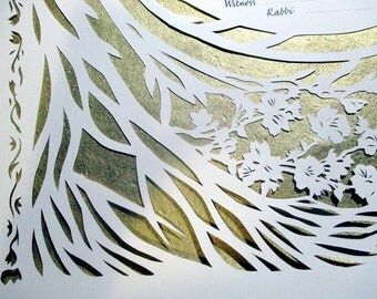 Olive Tree Papercut Ketubah with Cherry Blossoms - calligraphy - wedding artwork - gold