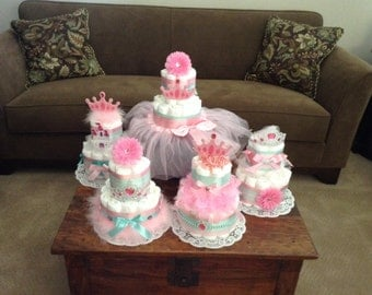 Princess Diaper Cake Baby Shower Centerpiece Baby Diva other colors and sizes too