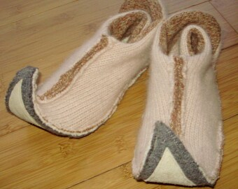 S Elf slippers womens small upcycled angora, lambswool wool and leather