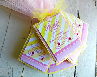 Lemonade Favor Tags...Set of 12 Favor Tags with Custom Wording