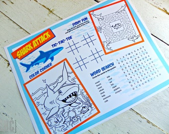 Shark Attack Activity Pages...Set of 10 Activity Pages