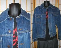 70s medium blue denim jean jacket  by Sears and Roebucks mens size 44 R