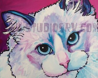 SALE 14x14 RAGDOLL CAT original painting free shipping