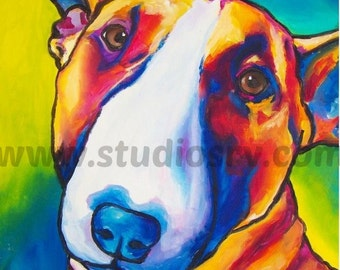 12x12 Colored Bull Terrier print
