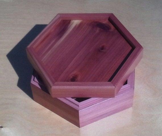 Decorative Hexagon Cedar Jewelry / Memory Box