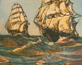 Clipper Sailing Ship print, 1930s Vintage nautical art - Taeping and Ariel