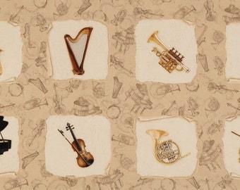 Harp trumpet piano sax French horn cello violin drum fabric