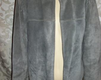 Gray Leather Suede Jacket Blazer Coat