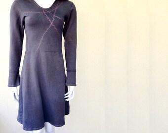 Organic hooded sweater dress, handmade organic clothing from Canada