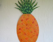 Art sculpture large -  Pineapple - dining room kitchen decor Reclaimed metal  25 x 12