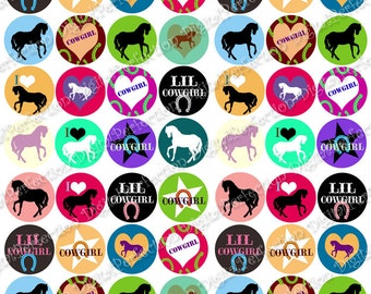 INSTANT DOWNLOAD - Digital Collage Sheet - I Love Horses 1 inch circles - DigitalPerfection digital collage sheet 1011