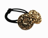 Stylized Flower Design Ponytail Holder, Vintage Buttons, Black Czech Glass with Gold Luster Finish, Hair Accessory