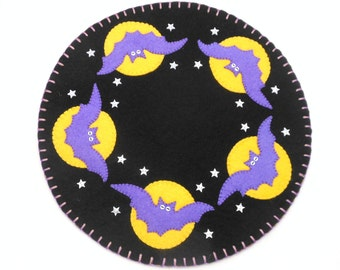 """Halloween Penny Rug with Bat and Moon Design - 13"""""""