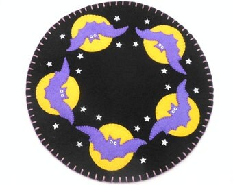 Halloween Penny Rug with Bat and Moon Design - 13""