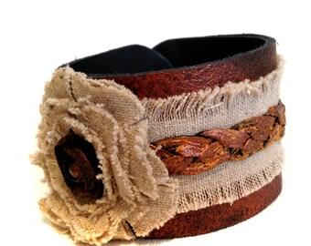 Rustic leather bracelet  Boho style Linen Cuff Bracelet  Women's bracelet Leather jewelry